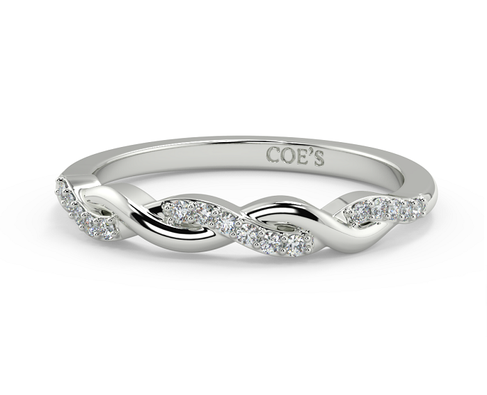 Crossover Twisted Wedding Rings with White Gold